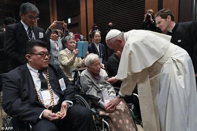 دیدار پاپ فرانسیس با قربانیان حادثه اتمی ژاپن