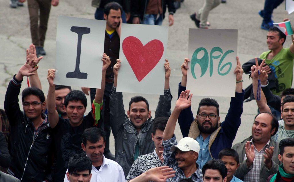 تماشاگران افغانی در ورزشگاه آزادی