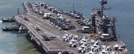 اعزام بزرگترین ناو جنگی آمریکا به نزدیکی آب های کره شمالی + تصاویر